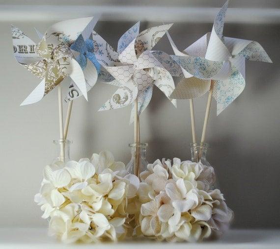 Shabby chic pinwheels set of 6