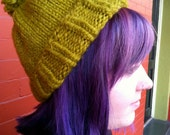 Slouchy Ribbed Hat in Lemongrass with Pom-Pom