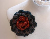 Flower Pin Large Mulit-Colored Brooch Handmade Blue Orange Red and Burgundy Crochet Knit