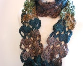Scarf Chunky Multi-Colored Brown and Green Lace Crochet Handmade