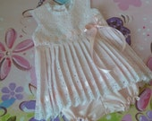6 to 9 Months Ready-To-Ship Pink Eyelet Sleeveless Baby Dress and Bloomers