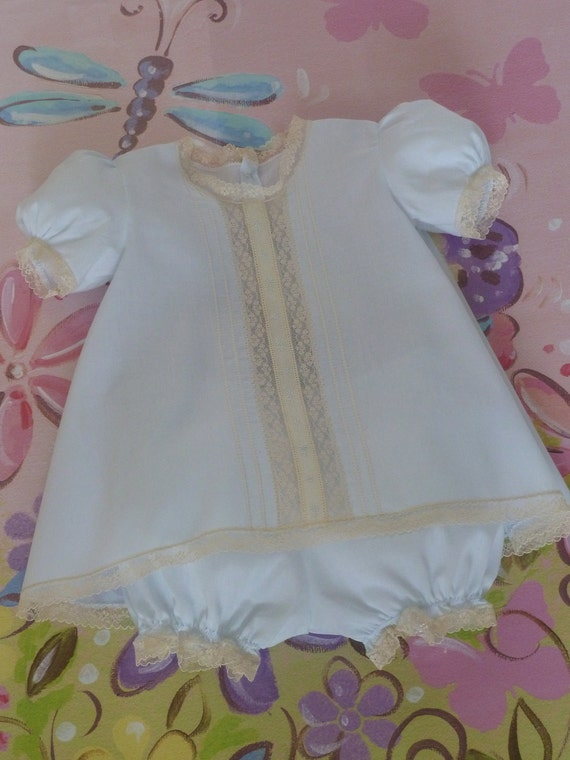 READY TO SHIP 3-6 Months  Heirloom Baby Dress and Panty Cover