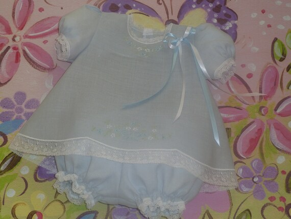 RESERVED LISTING - 3 to 6 Months Embroidered Baby Linen Dress and Panty Cover
