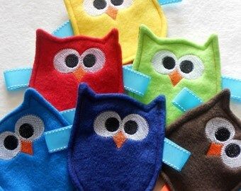 MADE TO ORDER - Friendly Owl Crinkle Toy for Baby Boy