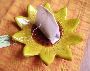 Sunflower Ceramic Dish, bowl, catchall, jewelry, ring holder, decor, soap dish, candle holder, teabag holder, spoonrest.