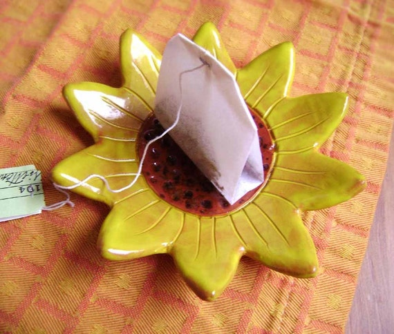 Sunflower Ceramic Dish, bowl, catchall, jewelry, ring holder, decor, soap dish, candle holder, teabag holder, spoonrest.