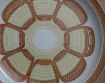 Mid Century orange flowered plates set of 3
