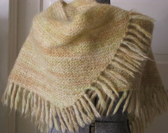 Vintage yellow mohair wool shawl wrap