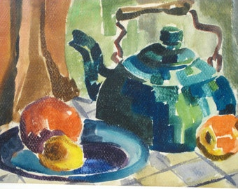 Vintage watercolor kitchen still life painting