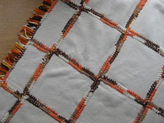 Vintage wool afghan blanket cream color