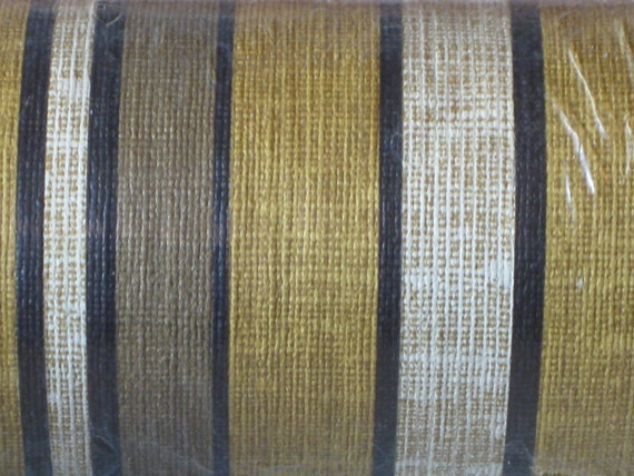 Vintage Wallpaper roll fabric textured striped yellow and brown
