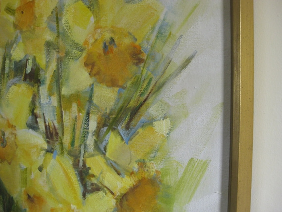 Mid Century large abstract modern Daffodil oil painting signed
