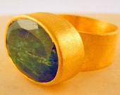 Lucky Finger- 18K Gold Vermeil Plated Sterling SIlver Ring with Green Ropada