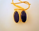 Black Spy Eyes- 18K Gold Plated Sterling Silver Earrings with Onyx