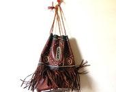 VTG boho hippie 60's woodland bucket fringe indian bag
