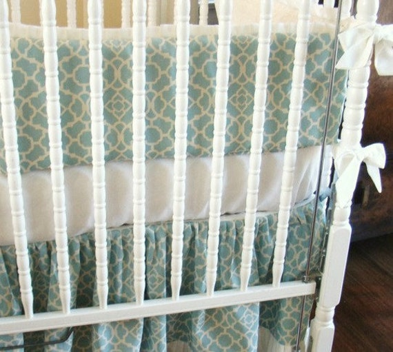 Baby Crib Bedding Crib Set 2 Piece Aqua Blue Trellis Pattern