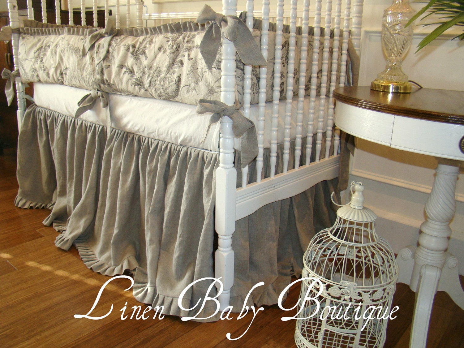 Baby Crib Bedding Crib Set Oatmeal Linen And Velvet 2 Piece