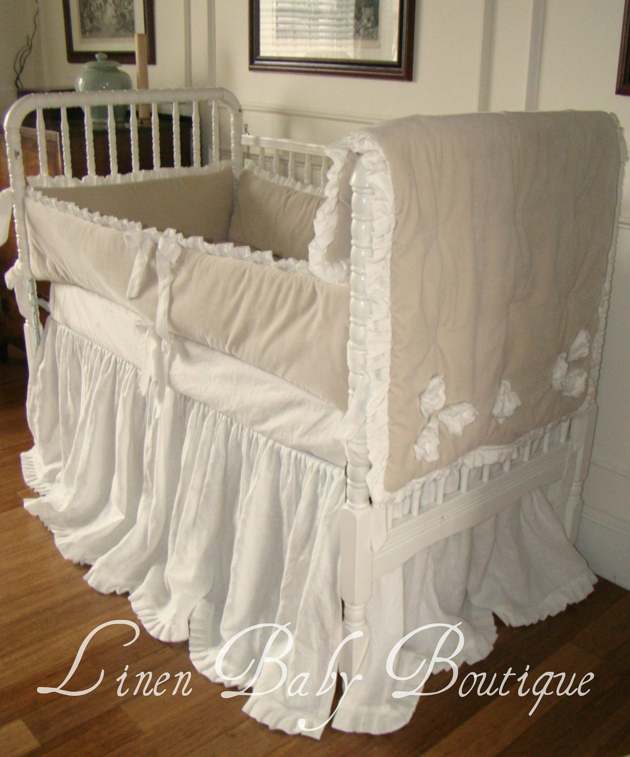 Custom Baby Bedding Crib Set Ivory Linen And Cream Velvet With