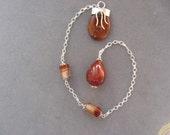 Dowsing Pendulum - Lovely Carnelian Teardrop with Carnelian & Silver Handle