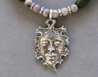 Green Man Pendant  with 'Peace Stone' and Forest Green Wooden Beads