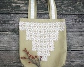 Handmade duck cloth tote bag with crocheted vintage lace