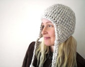 Knitted winter helmet hat. Natural wheat. Medieval inspired. Snow gear.
