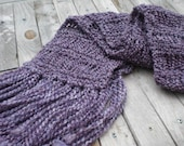 Hand knit winter scarf / lavender / plum / violet / lilac / warm / autumn accessory / super soft / fringes / extra long / gypsy chic / boho