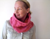 Hand knit hot pink winter cowl / feminine candy pink / country rustic neck cozy / extra large neck warmer / urban rustic / simple design