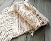 Hand knit winter shawl / white / rustic urban chic shoulder wrap / for her / natural wood buttons / asymmetrical