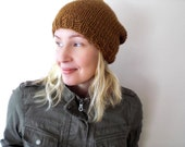 Hand knit slouchy hat / autumn spice / butterscotch / curry / urban rustic / yellow brown / winter / roving wool / country chic / unisex