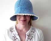 Crochet / Hat / pastel sky blue / cotton / spring summer brimmed hat / white picot edge / for her