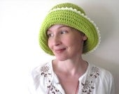 Crochet / Hat / lime green / hot yellow green / cotton / spring summer brimmed hat / white picot edge / for her