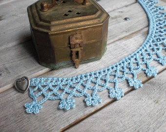 Hand crochet necklace choker / Victorian style fiber necklace / romantic Valentine's Day gift / pastel blue cotton necklace / heart button