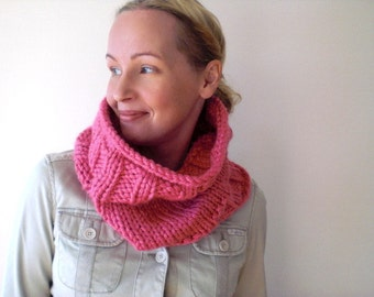 Hand knit hot pink winter cowl / feminine candy pink / country rustic neck cozy / extra large neck warmer / urban rustic / simple style cowl