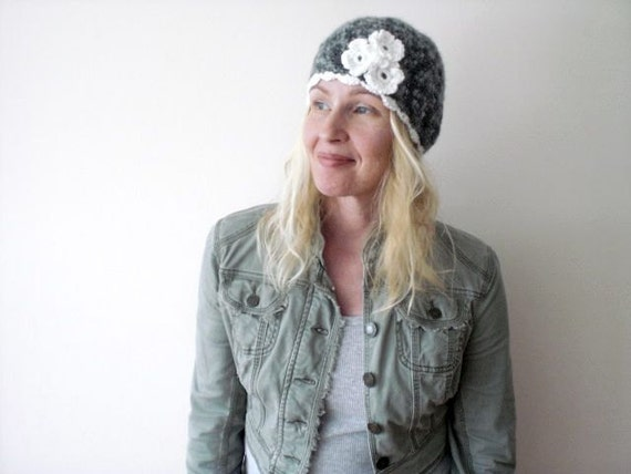RESERVED LISTING -- Crocheted hat. Gray. Soft variegated color scale. Romantic cloche with white crocheted flowers.