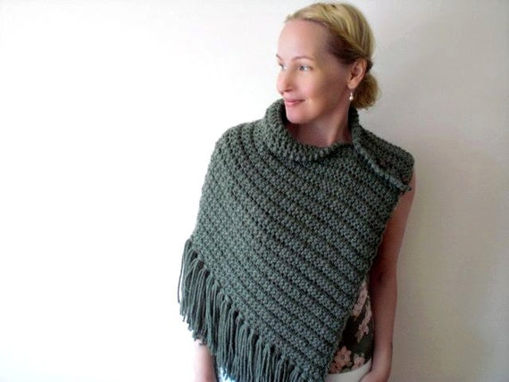 Knit shawl / moss heather green / soft pine green / asymmetrical / urban rustic shoulder wrap /  wood buttons / autumn / winter / cozy