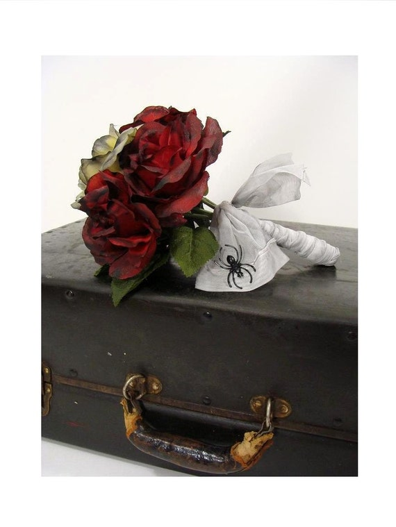 Red & Yellow ooak Zombie Corpse Bride Wedding Dead Rose Flower Bouquet