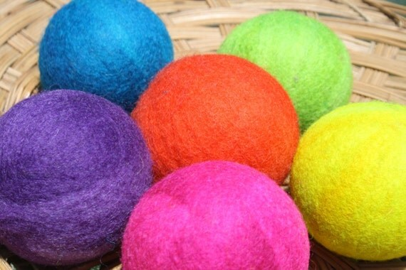Wool Dryer Balls - Rainbow Bright - Set of Six