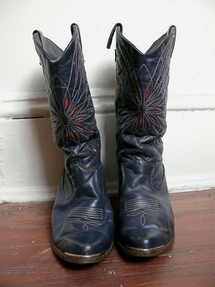 reserved vintage navy blue cowboy boots by lonepony on etsy