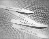 White Custom made Hidden Message Collar Stays (3 Pairs, assorted sizes)