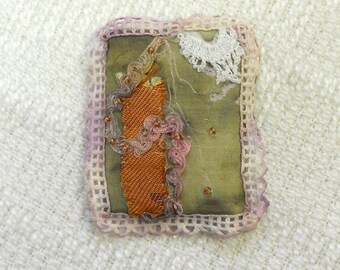 E131 OOAK Beaded Silk Pin or Brooch