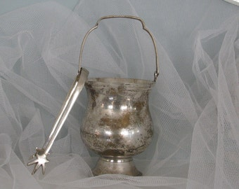 Vintage Silver Plated Wine  Ice Bucket and Tongs