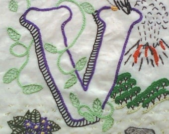 V of the ABCs of Agriculture Crewel Embroidery Blocks