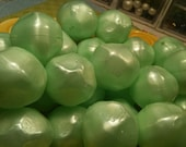 Vintage Beads, Mint Green Giant Faceted Plastic Beads 30 mm, (3)
