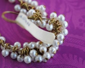 Vintage Bead Drops, Cream Pearls, acrylic,Round Looped Beads, 4mm, (15) (F-267)(L-18)