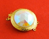 Vintage Clasp,Gold Two Strand Box Clasp with White Glass Faceted AB Cabochon,Richilieu,23x27mm (1)