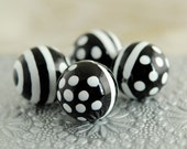 Vintage Beads, Black and White Polka Dot Beads with White Stripes,UNIQUE,Lucite,22mm (4) (B-659)(L-26)
