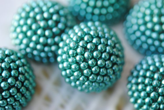 RESERVED For Kate .... Vintage Cabochons, Green Pearl Dome Round Cabs,Flatback, 25mm (2) (ST-8)(L-24)