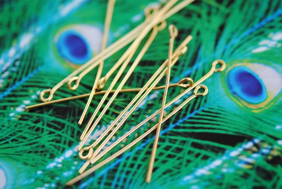 Gold Plated Eye Pins, Findings, EyePins, 40mm, 1.5 inches (100)