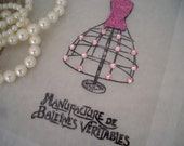 4 Glassine gift or favor bag - dress form with pink rhinestones - PARIS - pink glitter - ooh la la